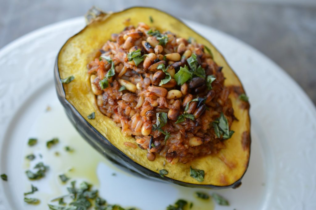 Roasted stuffed acorn squash